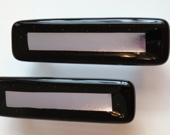 Custom cabinet hardware. Sophisticated decor. Glass drawer pulls. Art glass knobs. Black and silver home decor. Dichroic glass hardware.