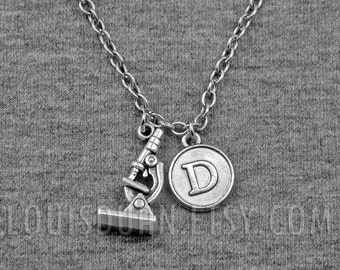 Laboratory Microscope Necklace -Science -Doctor -Geek -Initial Charm Necklace -Your Choice of A to Z