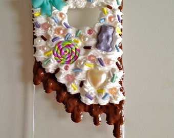 Decoden dripping frosting and whipped cream candy phone case for Samsung Galaxy S6 chocolate with sprinkles cute rainbow kawaii case