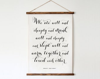 "Ernest Hemingway Quote - We ate well and cheaply and drank well and cheaply... Affiche Scandinave 50x70cm,A3,24x36"",11x14"",8x10"""