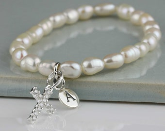 Freshwater Pearl Bracelet with a Solid Silver Cross Charm Personalised with a Solid Silver Stamped Initial Charm