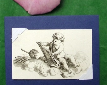 ca. 1770 - PUTTI Angel - Vignette by Salomon Gessner. Original. Antique. Copper Engraving. Gift. Present. Religion. Over 240 years old.