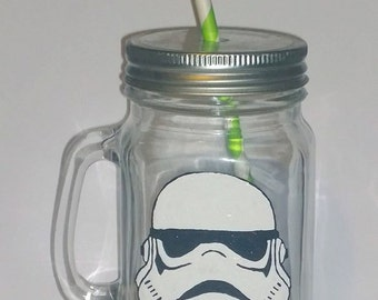 Hand painted stormtrooper drinking jar.