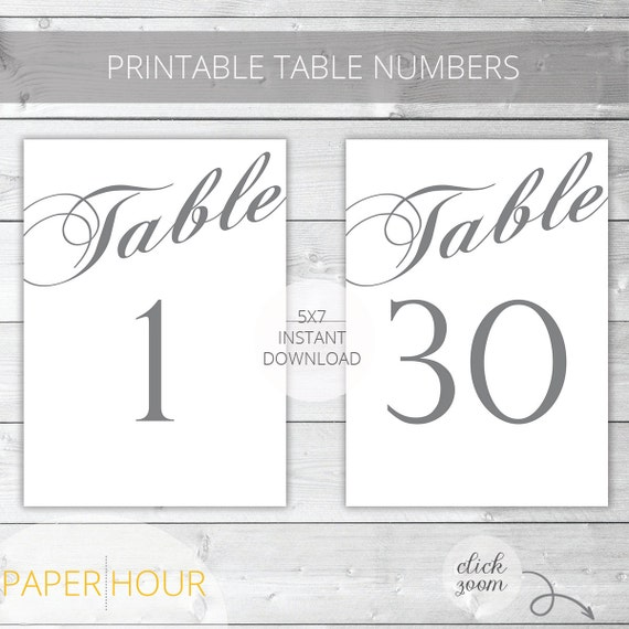 Gray Printable Wedding Table Numbers Classic Instant