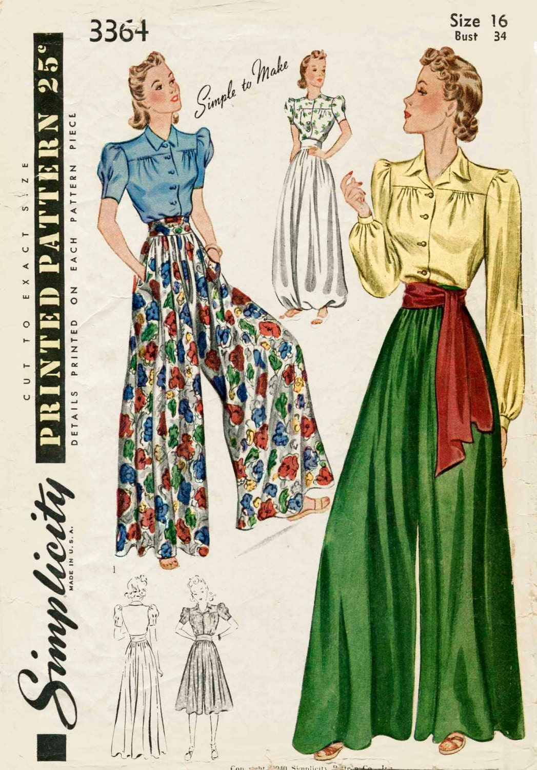 1930s 1940s vintage sewing pattern palazzo wide leg