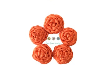 Set of (3)-MINI-Peach-Orange-Satin Ruffled Rosettes- Rolled Rosettes- Rosettes- Flower- Supply DIY-Fabric Flower-Rolled-small-petite-mini