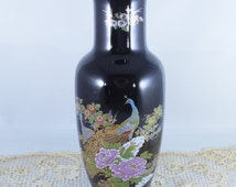 Kutani Japan Peacock Vase, Vintage Dark Blue with Peacock and Floral Design, Beautiful Hand Painted Pottery Vase