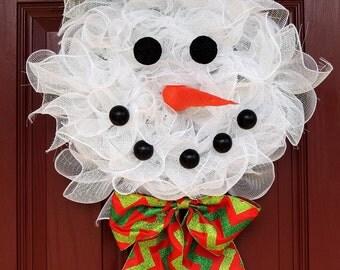 Snowman Christmas Wreath Christmas Deco Mesh wreath Frosty the Snowman mesh wreath Winter Whimsical wreath