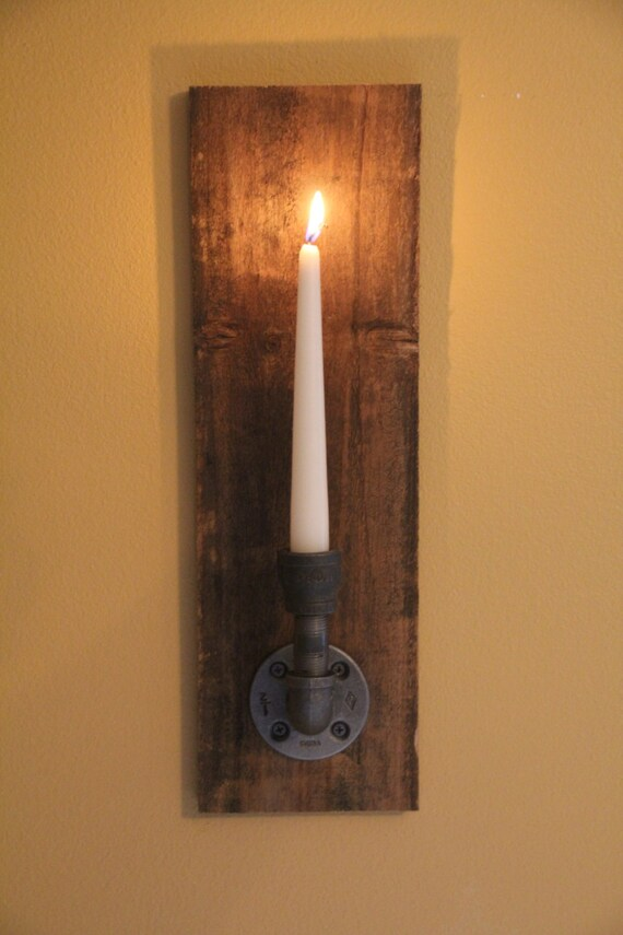 Set of 2 Reclaimed Rustic Wood Candle Wall Sconce