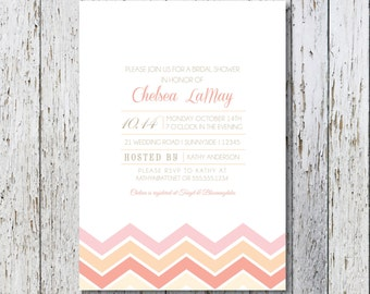 Chevron Bridal Shower Invitation, DIY Invitation, Digital Invitation, Custom Invitation, Bridal Shower Invite