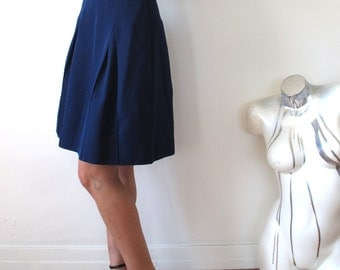 Navy pleated skirt | Etsy