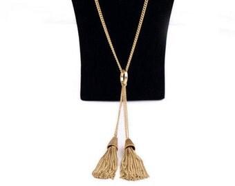 SALE Necklace, Necklace, Gold Tassel Necklace, TOP SELLER,  Work Necklace, On Trend Necklace, Antique Gold Tassel Necklace