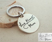 20% OFF*  Handwriting Disc Keychain - Engraved Signature Disc Keychain - Disc Charm - Handwriting Charm - keychain for her - Mom Gift
