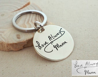 40% OFF* Handwriting Disc Keychain - Engraved Signature Disc Keychain - Disc Charm - ...