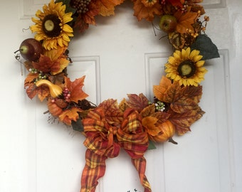Fall Wreath, Thanksgiving Wreath, Harvest Wreath