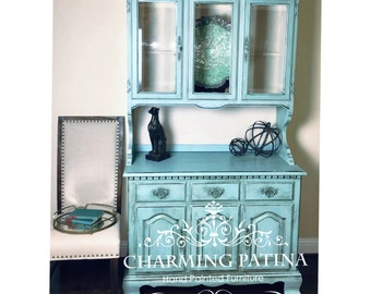 BLUE FRENCH PROVINCIAL Buffet & Hutch/China Cabinet