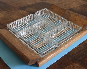 Very nice appetizer tray Art Deco glass and wood
