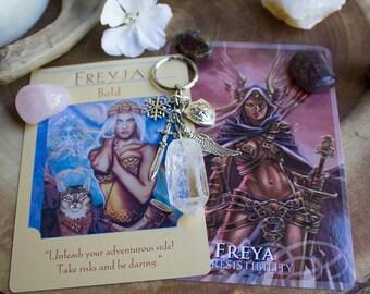 Freya Freyja Norse Goddess Raw Quartz Crystal Key Chain - Valkyrie, Warrior, Earth, Fertility, Beauty
