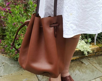 Leather Bucket Bag Carrier Style handmade in UK by me....calf leather (E33)