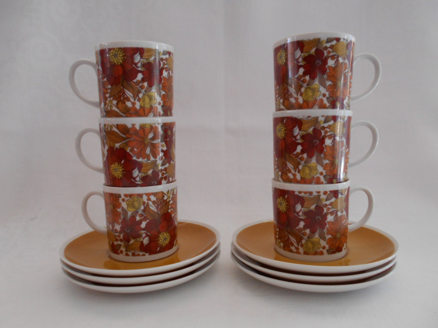Retro Funky Westminster Tea Cups Saucers Set Of Six