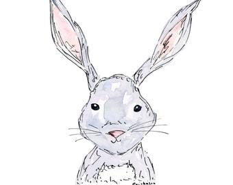 Rabbit Watercolor Print, Bunny, 5x7, 8x10, 4x6, Nursery, Children's room, kid's room art, Girl's room