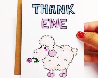 Funny thank you card bridesmaid, funny bridesmaid card, thank you bridesmaid, bridesmaid thank you, wedding thank you, Thank ewe card