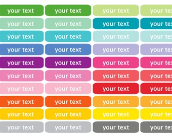 Set of 40 Planner Functional Event CUSTOM Text Color Font Stickers Multi-Color