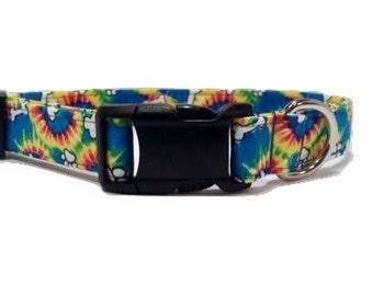 Tie Dye Dog Collar Colorful rainbow cotton puppy Paw Print & Bone Fabric Adjustable  XL L M S or XS Mini Small Extra Large