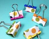 Spotty binder clips - pretty rainbow dotty clips - cute stationery set - teacher gift - planner supplies, medium 32mm