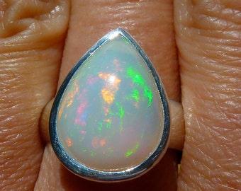 Ethiopian Opal Ring Size 7, Ethiopian Opal, Large Opal Ring, Fire Opal, High Grade Gem, Opal Jewelry, October Birthstone, Opal Teardrop Ring