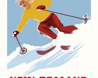 NZ Ski Vintage Poster