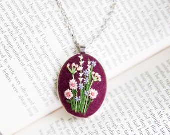 Pink Flower Necklace. Embroidery Pendant. Floral Jewelry. Bridesmaid Gift.