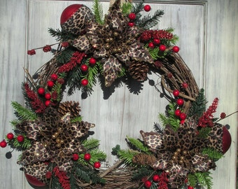 Valentine's Day Wreath, Valentine's Day Décor, Door Décor, Leopard Wreath, Winter Wreath, Winter Decor