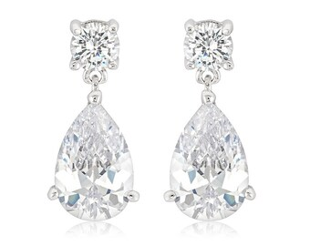 Elegant Drop Earrings   Classic Elegant Drop Earrings with Round and Pear Cut Cubic Zirconia
