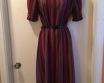 Vintage Retro 1960's-1970's Burgundy Striped Party Dress