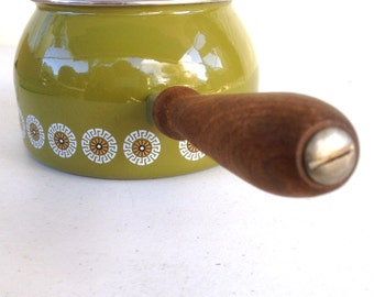 Vintage Enamel Bfb Royal Glazed Steel Fondue Pot With Wooden Handle - West Germany - Olive Green