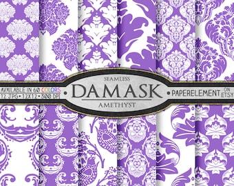 Amethyst Purple Damask Digital Paper Pack with Purple Printable Damask Background - Purple Digital Damask Scrapbook Paper