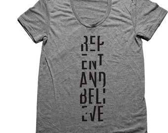 Christian Tee Repent and Believe American Apparel Athletic Grey Tri-Blend Christian Tee XS-XXL (5 Colors Available)