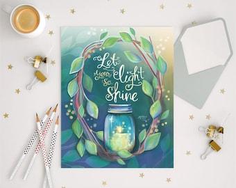 Let your light so shine - Matthew 5:16, Scripture Wall Art, Christian Gift, Inspirational Saying