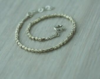 Silver square beads bracelet, silver geometric bracelet, square beaded bracelet, sterling silver bracelet, beaded silver bracelet, gift idea