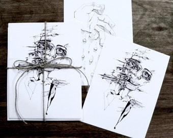 LET GO- six postcard stationery set