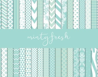 Mint and white digital paper pack, Mint digital paper, Scrapbook paper, Printable paper, Instant download, Printable pattern, Scrapbooking
