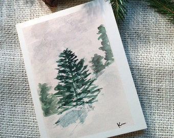 Winter Wonderland Watercolor Holiday/ Winter Solstice/Happy New Year Cards, Set of  8, Christmas Card, Note Cards, Landscape Watercolor,