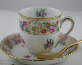 Elegant Floral, Gold Trimmed Demitasse Cup & Saucer made by Royal Dresden in Germany.
