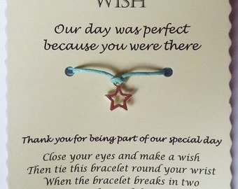 Wedding Wish Bracelet, Wedding wish gift, Cord Wish Bracelet, Personalised Wedding Thank you Gift, Thank you Wedding, Wedding Guest gift