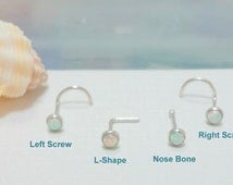 Nose screw, White Fire Opal Nose stud,  Nose Bone, L- Shaped, 925 Sterling Silver Nose Stud, Right and Left Nostril, 16 - 22 Gauge