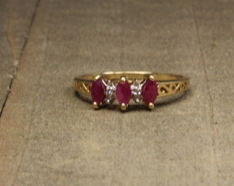 Estate, 10K Yellow Gold Diamond and Ruby Ring