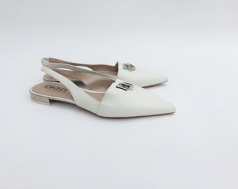 DKNY flat pointed shoes / Slingback flat pointed shoes / Ice white slingback shoes / DKNY pointed toe shoes /  Flat toe shoes /Pointed shoes