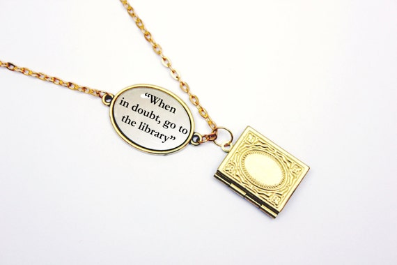 When In Doubt Go To the Library Necklace | Harry Potter Gift Guide