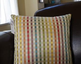 "16"" square pillow, rainbow plaid, zipper closure"